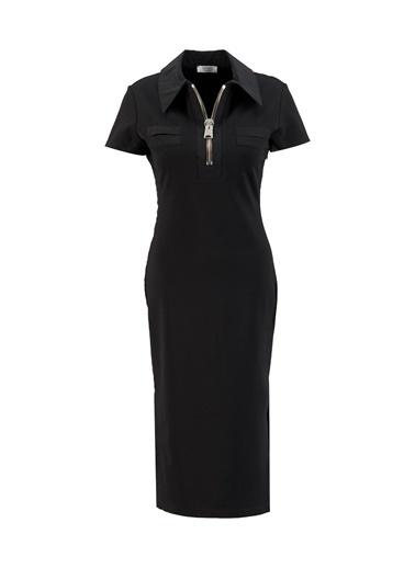 Setre Siyah Rayon Fermuar Detaylı Bedene Oturan Elbise Siyah